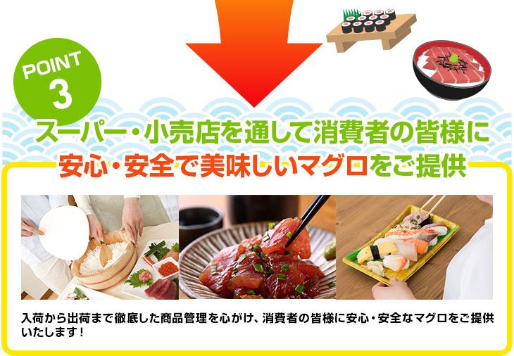 POINT3 スーパー・小売店を通して消費者の皆様に安心・安全で美味しいマグロをご提供!